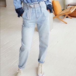 Free People Sadie Belted Paperbag Jeans